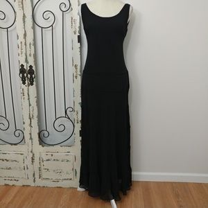 Champs long black tiered gown size 8 NWT